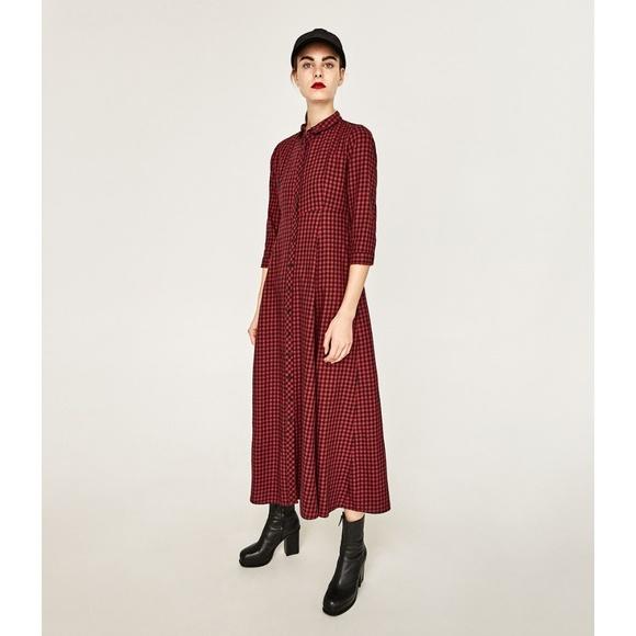 d5f679ad ZARA WOMAN Red Check Shirt Maxi Dress